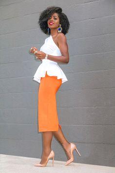 Style Pantry   One Shoulder Peplum Top + Pencil Midi Skirt