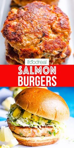 Juicy Salmon Burgers with simple ingredients and pan fried until golden. Serve on a bun for full dinner with mango slaw for low carb meal or freeze for later. Your kids will lick the plates! Clean Eating Recipes For Dinner, Healthy Dinner Recipes, Healthy Snacks, Healthy Dinners, Healthy Grilling, Grilling Recipes, Cooking Recipes, Burger Recipes, Salmon Recipes