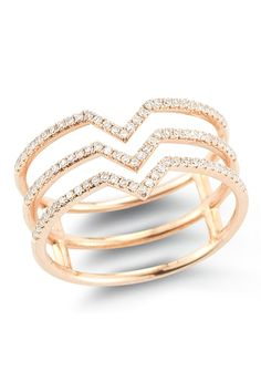 14K Rose Gold Tri-Band Diamond Ring - 0.25 ctw -  by Lily & Isabella