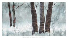 Landscape quilting by Natalie Sewell and Nancy Zieman,River  Birches by Natalie Sewell