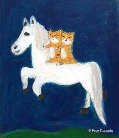 """Pepe Shimada Paitings: """"Rocking horse and cat's night's journey"""" on canvas. Watercolor Bird, Watercolor Paintings, Ugly Cat, Cat Art, Painting & Drawing, Moose Art, Illustration Art, Horses, Canvas"""