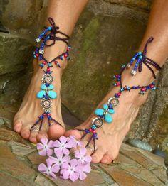 hippie jewelry | ... sandals purple lace gypsy fairy beach wedding hippie yoga foot jewelry