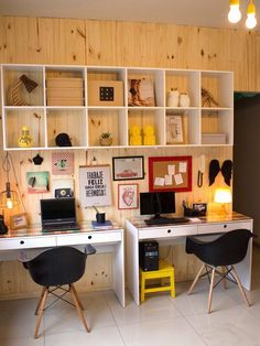 Find the best idea to make a home office for two. Sharing a home office sounds like a good idea at first glance. It saves in the works large quantity of heavens and otherwise of having to create two stand-in rooms.