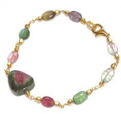 Watermelon Tourmaline Slice Bracelet Rainbow #bracelet, #watermelon, #rainbow, #tourmaline