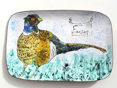 French Vintage Tray/ Hand Painted Enamel On Copper Signed Limoges Tray With Pheasant-Rare