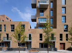 St Andrews Bromley-by-Bow // London // Block D // Allies & Morrison Architecture Collage, Facade Architecture, Residential Architecture, Facade Design, Exterior Design, Block D, Barratt Homes, Building Elevation, Brick Facade