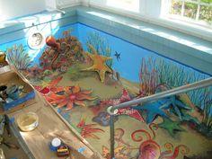 Custom painted indoor pool, coral reef jillhungerford.com