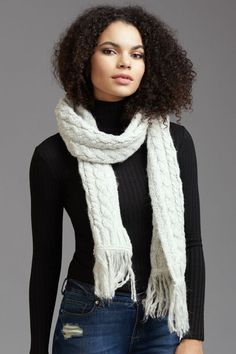 ae254914a5b2a Cable knit chic Long Knitted Scarf with Fringe