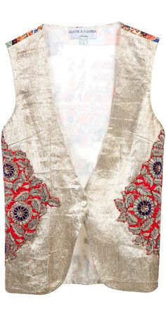Light gold textured waistcoat by ANAMIKA KHANNA. http://www.perniaspopupshop.com/whats-new/anamika-khanna-light-gold-textured-waistcoat-ankc0913010.html
