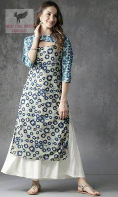 Kurta Women - Pure Cotton Blue & Beige Printed Straight Kurta - Indian Dress - Ethnic Wear - Kurtis For Women - Kurti Dress - Women Top Latest Kurti Design FASHION : IMAGES, GIF, ANIMATED GIF, WALLPAPER, STICKER FOR WHATSAPP & FACEBOOK #EDUCRATSWEB
