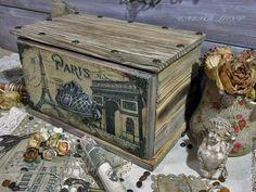 """Купить """"Paris"""" Комодик-шкатулка из сосны - комод, комодик, комодик для украшений, комодик декупаж"""