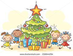 Kids Getting Presents Christmas Stock-Vektorgrafik (Lizenzfrei) 216844294 Drawing For Kids, Art For Kids, Crafts For Kids, Logo Noel, Stick Figures, Cute Pins, Diy Frame, Xmas Crafts, Happy Kids