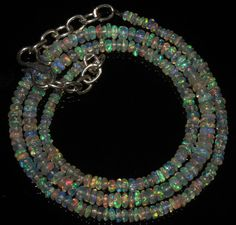 """28 Crts 1 Necklace 2to5mm 16"""" Beads Natural Ethiopian Welo Fire  Opal  56721"""