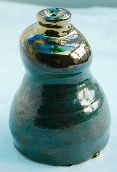 Sculpture Copper Black Ice Vase