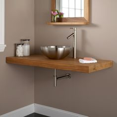Wall-Mount Vanity Top for Vessel Sink - Custom made smaller in quarter sawn oak with the hammered copper vessel sink inset & wall mount faucet.