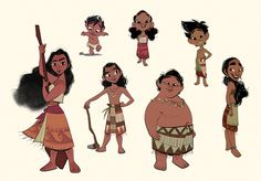 """bobbypontillas: """" Moana's out in theaters today! After animation wrapped on Big Hero, I had the opportunity to help out with design on Moana. One of my assignments was to design the village kids from..."""