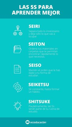 Las 5 S para aprender mejor #infografia #5's #aprender 5am Club, Study Techniques, Lean Six Sigma, Kaizen, School Hacks, Human Resources, Study Tips, Good To Know, Leadership