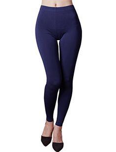 e1ca8a548b014 HASLRA Women's Premium Viscose Rayon Stretch Full Length Leggings (NAVY),  X-Small