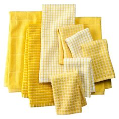 Bring Yellow Accents into Red Kitchen.    Towel and Dishcloth- Assorted Set of 9.