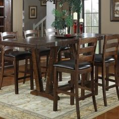 Emerald Home Castlegate 42 In. Bar Height Trestle Table   Kitchen U0026 Dining  Room Tables