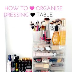 How To Organize Your Dressing Table: 5 Useful Tips Bedroom Furniture Sets Sale, Dressing Table Organisation, Cheap Mattress, Sliding Wardrobe, Bedside Cabinet, Tidy Up, Bed Storage, Makeup Organization, Helpful Hints
