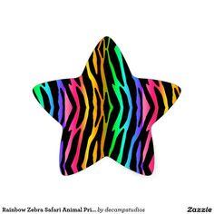 Rainbow Zebra Safari Animal Print Star Sticker