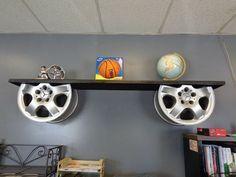 reuse car rims into repurposed furniture alloy wheels holders for wooden shelf decor idea