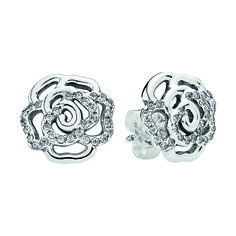 PANDORA Earrings Shimmering Rose with Clear CZ - - JEWELRY - From our PANDORA 2015 Mother's Day Collection, comes the Shimmering Rose Earrings. These filigree rose stud earrings in sterling silver with gleaming Pandora Rose Gold, Pandora Rings, Pandora Jewelry, Cheap Pandora, Pandora Pandora, Pandora Necklace, Pandora Charms, Stud Earrings, Bracelets