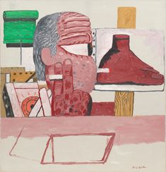 "Philip Guston. In the Studio. 1975. Oil on canvas. 6' 10"" x 6' 7"" (208.3 x 200.7 cm). Gift of UBS. 99.2002. © 2018 The Estate of Philip Guston. Painting and Sculpture"