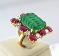 elegant fine natural EMERALD carved RUBY cabochon DIAMOND ladies ring in 18k white gold