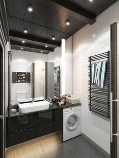 Das Bad in Schwarz-Weiß wirkt elegant und modern