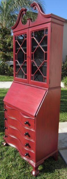 SOLD Rustic Red Antique Secretary Desk/Hutch by Tbugdesigns, $425.00