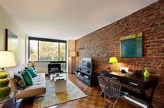 exposed brick living rooms | New York loft with real exposed brick wall living room