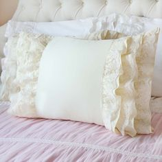 Cream Ruffle Lace Pillow Shams(a pair)-Victorian Shabby Cottage French Parisian Wedding gift Grey Bedding, Luxury Bedding, Linen Bedding, Chic Bedding, Bedding Sets, Bed Linens, Ruffle Pillow, Pillow Shams, Bed Pillows