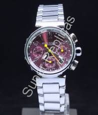Full SS Louis Vuitton, Silver Arabic and Bar Hour Markers on Maroon Chronograph Dial Ladies  Model #: 6LOV004  Gender #: Ladies      $215.00