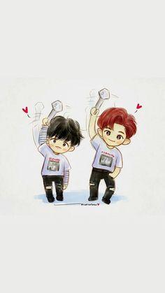 Chanbaek Fanart, Exo Chanbaek, Exo Ot12, Exo Chanyeol, Exo Fan Art, Fanarts Anime, Boy Bands, Religion, Kawaii