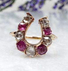 Antique Victorian 18ct Gold Rose Cut Diamond & Ruby Lucky Horseshoe Ring Size K by DearRoseWithLove on Etsy https://www.etsy.com/listing/506461058/antique-victorian-18ct-gold-rose-cut