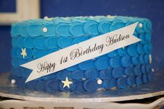 On The Night You Were Born Book Inspired Party.  Love this ombre cake!  | Kara's party ideas