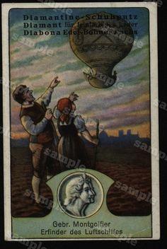 Hot air balloon  Adverting Card  Victorian trade by Printvilla4you