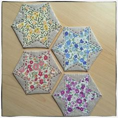 Rather liberty-esque don't you think  #sevenberryfabric #japanesefoldedpatchwork #hexagons  very quick to make and could make a quilt as you go hexie project. The only sewing is the hand stitching ✂️But these are just #hexagoncoasters