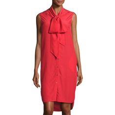 Belstaff Ramsay Silk Sleeveless Shirtdress ($101) ❤ liked on Polyvore featuring dresses, vermillion, silk dress, high low dresses, hi low shirt dress, red dress and red shirt dress