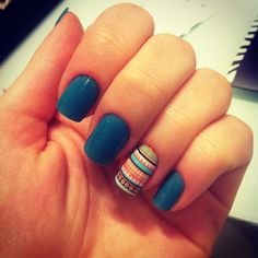 Love this color -- Cute. Love the accent nail with that teal.