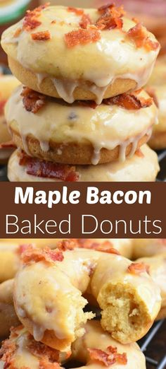 Easy homemade baked donuts made with bacon and maple syrup i… Maple Bacon Donuts! Easy homemade baked donuts made with bacon and maple syrup inside, and coated with a sweet maple glaze and crunchy bacon. Homemade Baked Donuts, Baked Donut Recipes, Baked Doughnuts, Baking Recipes, Dessert Recipes, Desserts, Cake Donut Recipe Baked, Yummy Donuts, Cheesecake Recipes