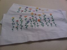 Hand  Embroidered Pillow Cases by yourgalfridayfl on Etsy, $30.00