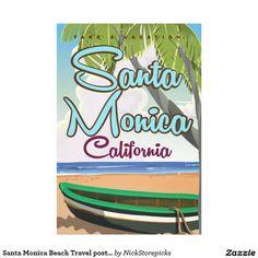 Santa Monica Beach Travel poster Canvas Print