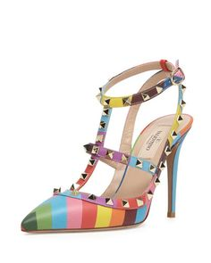 OMG! I can't even. I feel I need these. I have a weakness for unique and colorful shoes and these are by far my favorite! Valentino Rockstud chevron-print slingback pump