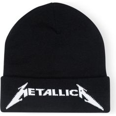 METALLICA Logo-embroidered knitted beanie ($52) ❤ liked on Polyvore featuring men's fashion, men's accessories, men's hats and mens beanie hats