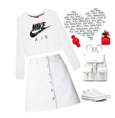 """""""pure white"""" by clairsnotebook ❤ liked on Polyvore featuring Miss Selfridge, NIKE, Converse, MICHAEL Michael Kors, Marc Jacobs and Rosendahl"""