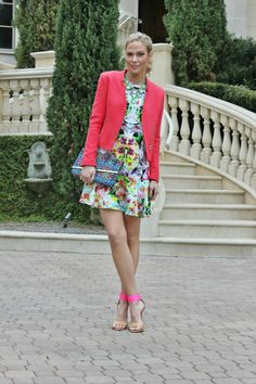 mirror print prabal gurung for target dress, coral blazer, nude and neon heels Skirt Fashion, Fashion Outfits, Womens Fashion, Summer Wear, Spring Summer Fashion, Trendy Outfits, Cute Outfits, Neon Heels, Coral Blazer
