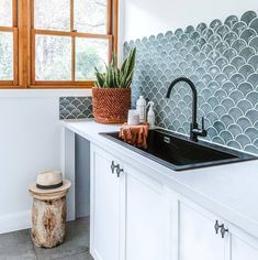 Our Schock Sink is featured here in this stunning laundry